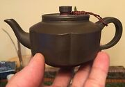 Antique Chinese Yixing Zisha Clay Small Teapot And One Cup Marked Pottery 宜兴泥