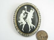 Antique Georgian 15k Gold And Silver Paste Molded Glass Muses Cameo Brooch C1820