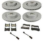 Front And Rear Disc Brake Rotors And Pad And Sensors Kit For Mercedes W204 C63 Amg