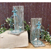 New French Country Cottage Chic Shabby Blue Bird Cage Book Ends Fleur De Lis