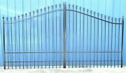 Wrought Iron Style Steel / Iron Driveway Gate 14and039 Wide Yard Home Security