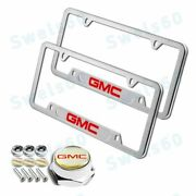 2pcs For Gmc Silver License Plate Frame Stainless Steel Metal W/ Caps Bolts Set