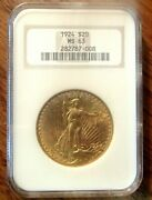 1924 20 Gold St.gaudens Ngc Ms63 Very Nice Certified Uncirculated Gold Coin