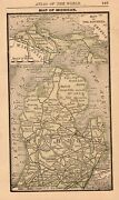 Miniature Antique Michigan State Map 1888 Collectible Map Of Michigan 7878