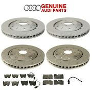 Genuine Front And Rear Vented Disc Rotors W/ Pads And Sensors For Audi R8 2008-2012