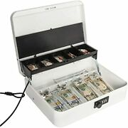 Large Locking Cash Box With Money Tray Metal Combination Lock White Office