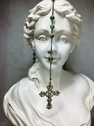 Vintage Sterling Silver Rosary Crucifix Cross Green Crystal Glass Capped Beadsandnbsp