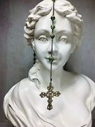 Vintage Sterling Silver Rosary Crucifix Cross Green Crystal Glass Capped Beads