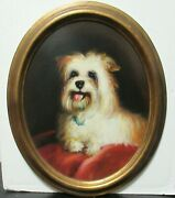 Yorkie On A Red Pillow Vintage Original Oil On Board Oval Painting Unsigned