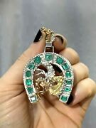 Wow 6ct Natural Colombian Emerald Horse Shoe Pendant 18k Gold And Sterling