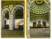 Ornate Interior Public Library Rooms-chicago-illinois-vintage Postcard Lot Of 2