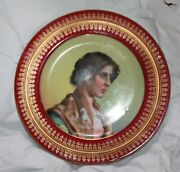 Pair Of Royal Vienna Portrait Plates With Beehive Mark Dated 1901 Young Woman