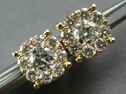 Large 1.10ct Diamond 14kt Yellow Gold Round Invisible Four Prong Stud Earrings