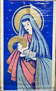 Vintage 1930s Rare Litho Usa Madonna And Child With Glitter 36 X 59 Very Nice