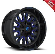 24x12 Fuel Wheels D644 Contra 5x127.00 Gloss Black Blue Milled -44 A Set Of 5
