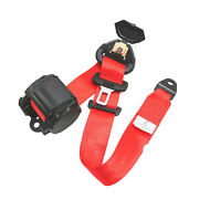 Us Shipping Red 3 Point Retractable Car Safety Seat Belts Lap With Warning Cable
