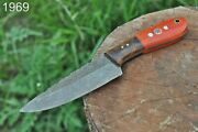 Custom Hand Forged Damascus Hunting Knife Stain And Rose Wood Handle-aj-1969