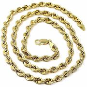18k Yellow Gold Chain Necklace 5.5 Mm Big Braid Rope Link 23.6 Made In Italy