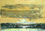 Shaul Ohaly Original Acrylic On Paper Seascape Boat Abstract Painting