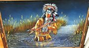 Huge Sanchez Indian With A Bow And Arrow Original Acrylic Velvet Western Painting