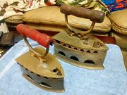 Two Antique Brass Charcoal Sad Irons Kim Hiap Liong And Co Foundry Works