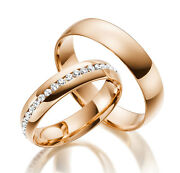 2 X 585 Rose Gold Wedding Rings Full Wreath Solid Engagement Ring