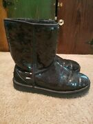 Uggs Ugg Classic Short Cosmos Sequin Boots Boot Women Black Size 7 Vgc