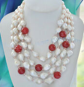 4 Rows Natural 15mm White Baroque Keshi Reborn Pearl Andred Jade Crystal Necklaces