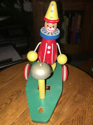 Vintage Brio Pingel Pelle Animated Wooden Clown Wagon Pull Toy