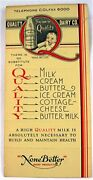 Vintage Quality Dairy None Better Dairy Products Yellow Order Form St Louis Mo