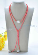 6mm Pink Coral Gemstone Round Beads White Baroque Keshi Pearl Necklaces 40-100and039and039