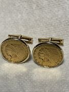 🔥🔥indian Head 22k And 14k 5.00 Yellow Gold Coin Cufflinks.25.27g. 1910 And 1911