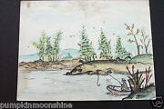 H891- Vintage Hand Painted Greeting Card Man On A Boat Fishing In Pond