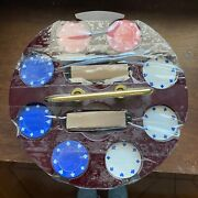 Vintage Hoyle Poker Chips And Playing Cards With Lazy Susan Poker Chip Holder Spin