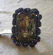 Konplott Ring From Series Ice Cocoon Blue Crystal/antique Bronce