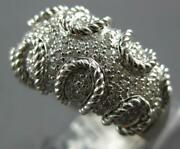 Estate Wide .72ct Diamond 14kt White Gold 3d Multi Row Beaded Funky Cool Ring