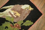 Vintage American Hook Hooked Bird Rug Size 2and039x3and039