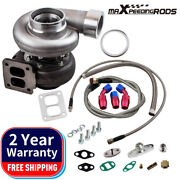 Gt45 V-band T4 Flange Turbo Charger 600+hp + Oil Drain Feed And Return Line Kits