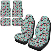 Cute Animal Printed Front Seat Cover Floor Mats Full Set For Car Fit Women 6pack