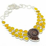 Ammonite Fossil Yellow Sapphire Silver Jewelry Necklace 18 Ak-3175