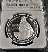 2000 Iceland S 1000kroner Leif Ericson Silver Commemorative Coin Ngc Pf69 Uc