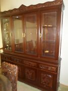 High End Asian Hand Carved Solid Teak Hutch Glass Front Lighted 2 Piece