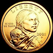 2001-d Sacagawea Dollar In Bu Brilliant Uncirculated Condition From Mint Roll