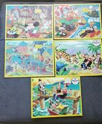 Vintage Jaymar Puzzles Walt Disney Mickey Mouse Popeye 5 Puzzle Lot Made In Usa