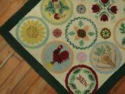 Vintage American Hook Hooked Rug Size 2and039x3and0392and039and039
