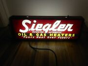 Vintage Siegler Oil And Gas Heaters Reverse Painted Advertising Lighted Sign