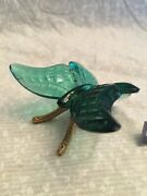 Fenton Glass Butterfly With Brass Stand. Handmade In Usa Spruce Green Color.