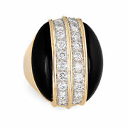 Large Onyx Diamond Ring Vintage 18k Yellow Gold Oval Cocktail Jewelry Sz 4