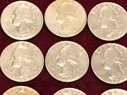Roll Of 25 Washington 53-54 Years Old Quarters 1967-1968 Quarter Dollar Coins