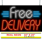 Free Delivery Neon Sign | Jantec | 32 X 20 | Pizza Chinese Takeout Deli Bar